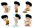 Set of daily activities routines,kid taking a bath, Funny littl