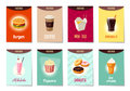 Set of AD-cards, banners, tags, package with cartoon fast food Royalty Free Stock Photo