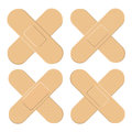 Set of Adhesive, flexible, fabric plaster . Medical bandage in different shape - straigh cross. Vector illustration isolated on wh Royalty Free Stock Photo