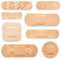 Set of adhesive plasters isolated on white background Stock Image