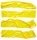 Set of adhesive tapes yellow isolated on white background Stock Image