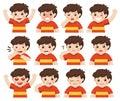 Set of Adorable Boy facial emotions.