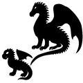 Set adult baby dragon silhouettes isolated white Royalty Free Stock Photos