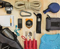 Set of advanced scout adventurer travel kit modern traveler Royalty Free Stock Photo