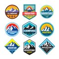 Set of adventure outdoor concept badges, summer camping emblem, mountain climbing logo in flat style. Extreme exploration sticker