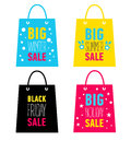 Set of advertising shopping bags. Big winter, summer, holiday sale, black friday sale. Royalty Free Stock Photo
