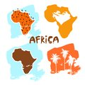 A set of africa cards in the style of a children`s illustration is decorated with palm trees and inscriptions Royalty Free Stock Photo