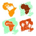 A set of africa cards in the style of a children`s illustration is decorated with palm trees and inscriptions. Royalty Free Stock Photo