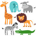 Set of african animals funny Royalty Free Stock Image