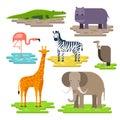 Set of African animals on the pieces of land vector flat design. Giraffe, elephant, Nile crocodile, hippopotamus, zebra