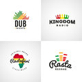Set of african rastafari sound vector logo designs jamaica reggae music template colorful dub concept Royalty Free Stock Photos