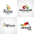 Set of african rastafari sound vector logo designs jamaica reggae music template colorful dub concept Stock Images