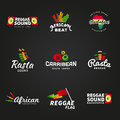 Set of african rastafari sound vector logo designs jamaica reggae music template colorful dub concept on dark background Royalty Free Stock Image
