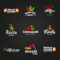 Set of african rastafari sound vector logo designs jamaica reggae music template colorful dub concept on dark background Royalty Free Stock Image
