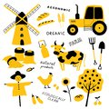 Set of agricultural and farm tools, animals, plants and machinery. Cartoon cow, chicken, tractor, scarecrow, mill, wheat.