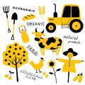 Set of agricultural and farm tools, animals, plants and machinery. Cartoon cow. Funny doodle hand drawn vector illustration.