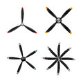 Set of aircraft in flat style. Airplane propellers on white background