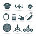 Set of airplane elements vector illustration Stock Images