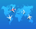 Set of Airplanes Flying over World Map. Vector
