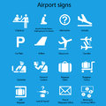 Set of airport signs and symbols on blue background eps Stock Images