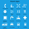 Set of airport signs and symbols on blue background eps Royalty Free Stock Photo