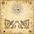 Set of alchemical symbols. Mythical dragons protect an alchemical star.
