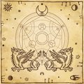 Set of alchemical symbols. Mythical dragons protect a mysterious alchemical circle.