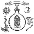 Set of alchemical symbols. Origin of life. Mystical entity in a test tube. Religion, mysticism, occultism, sorcery.