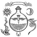 Set of alchemical symbols. Origin of life. Symbolical bird in a test tube. Religion, mysticism, occultism, sorcery.