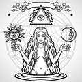Set of alchemical symbols: young beautiful woman holds sun and moon in hand.