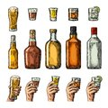 Set alcohol drinks with bottle, glass and hand holding beer, gin, whiskey, tequila. Royalty Free Stock Photo