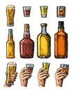 Set alcohol drinks with bottle, glass and hand holding beer, whiskey, tequila Royalty Free Stock Photo