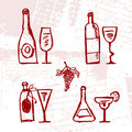 Set of alcohol's bottles and wineglasses Stock Image