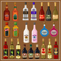 Set alcoholic beverages nset of bottles on brown background Royalty Free Stock Images