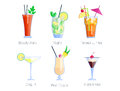 Set of alcoholic cocktails  fruit cold drinks tropical cosmopolitan freshness collection and party alcohol sweet Royalty Free Stock Photo