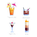 Set of alcoholic cocktails isolated fruit cold drinks tropical cosmopolitan freshness collection and party alcohol sweet Royalty Free Stock Photo
