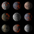 Set of Alien hot planets on black background 3d rendering. Royalty Free Stock Photo