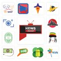 Set of all news channel, kids mobile os a, mms, money back guarantee, rastaman, celtic tree life, kart, camera icons Royalty Free Stock Photo