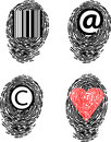 Set of allegory finger prints with vector Royalty Free Stock Image