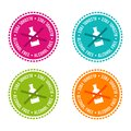 Set of Allergen free Badges. Alcohol free. Vector hand drawn Signs. Can be used for packaging Design.
