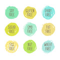 Set of allergen free badges. Royalty Free Stock Photo
