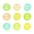 Set of allergen free badges.