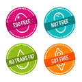 Set of Allergen free Badges. Egg free, Nut free, No Trans Fat, Soy free. Vector hand drawn Signs. Royalty Free Stock Photo