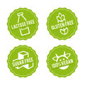 Set of Allergen free Badges. Lactose free, Gluten free, Sugar free, 100% Vegan. Vector hand drawn Signs. Royalty Free Stock Photo