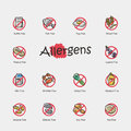 Set of allergens icons isolated on light background