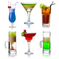 Set of alocohol coctails with fruits isolated Stock Image