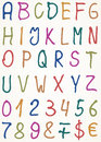 Set of alphabet letters with numbers and other
