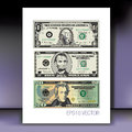 Set of american dollars illustrated with faces george washington andrew jackson and abraham lincoln Royalty Free Stock Photo