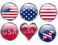 Set of American Flag Buttons Royalty Free Stock Photo