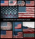 Set of American flags of developing and vintage